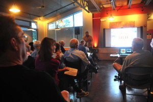 Dozens came to Ithaca Beer in August for the first presentation about the community solar initiative. 14850 Photo.