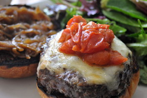 Rulloff's First Degree Burger, with cheddar and tomato jam. We added the caramelized onions.